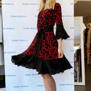 flamneci wrap dress red and black dot
